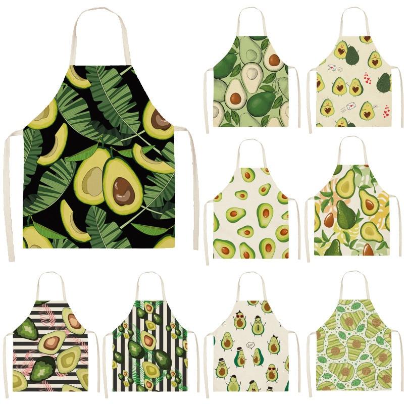 Avocado Tropical Print Cotton Linen Apron Kitchen Women Baking Waist Bib Home Cooking Brief Sleeveless Pinafore 53*65cm WQL0145