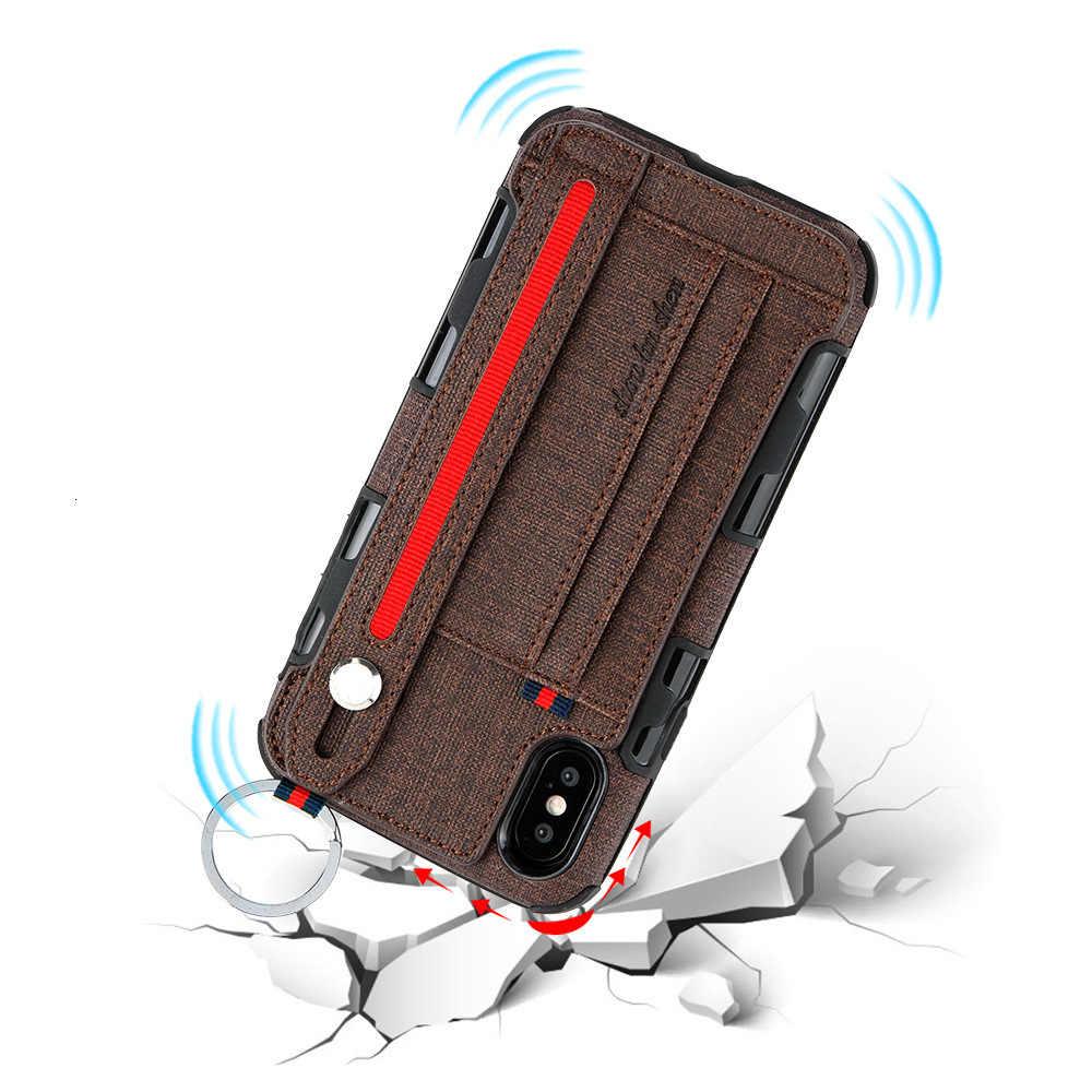 Aplicar ao novo iphone xs max defesa queda mão escudo apple x suporte um pulso trazer plug-in cartão pele