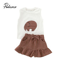 pudcoco Toddler Newborn Baby Girls Clothing Set Off Shoulder Tank Tops + Ruffles