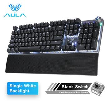AULA F2088 Gaming Mechanical Keyboard Blue Brown Switch Wired Mix Backlit Keyboard 104 Keys Anti-ghosting for Gamer PC Desktop - Russian Federation, 108 White backlight