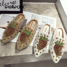 Rhinestone Loafers Fur Slides Women Flat Mules Slippers Pointed Toe Studs Rivets Fruits Ladies Casual Winter Furry Home Shoes