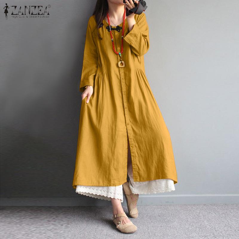 5xl meados de bezerro vestido para mulher 2021 senhoras retro camisa vestido zanzea outono manga longa vestido casual sólido robe femme plus size