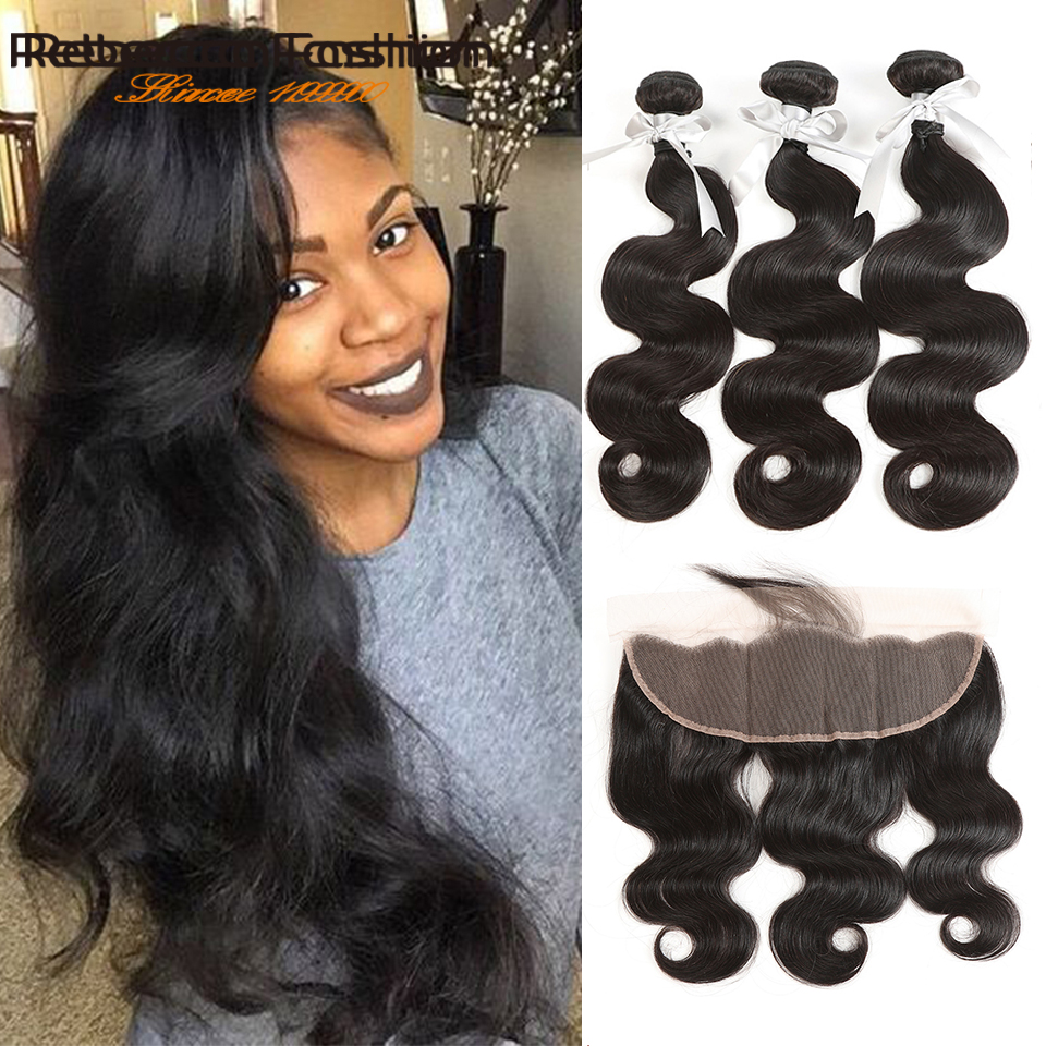 Rebecca Brazilian Body Wave Bundles With Frontal Lace Frontal Closure With Bundles Remy Human Hair 3 Bundles With Frontal