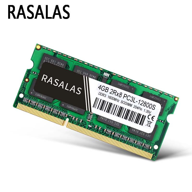 Rasalas DDR3 DDR4 Оперативная память 2 ГБ 4 ГБ 8 ГБ оперативной памяти, 16 Гб встроенной памяти, PC3-10600S 12800S 21300 1333 МГц SO-DIMM 1,5 V Тетрадь 204Pin Sodimm памяти ноутб...