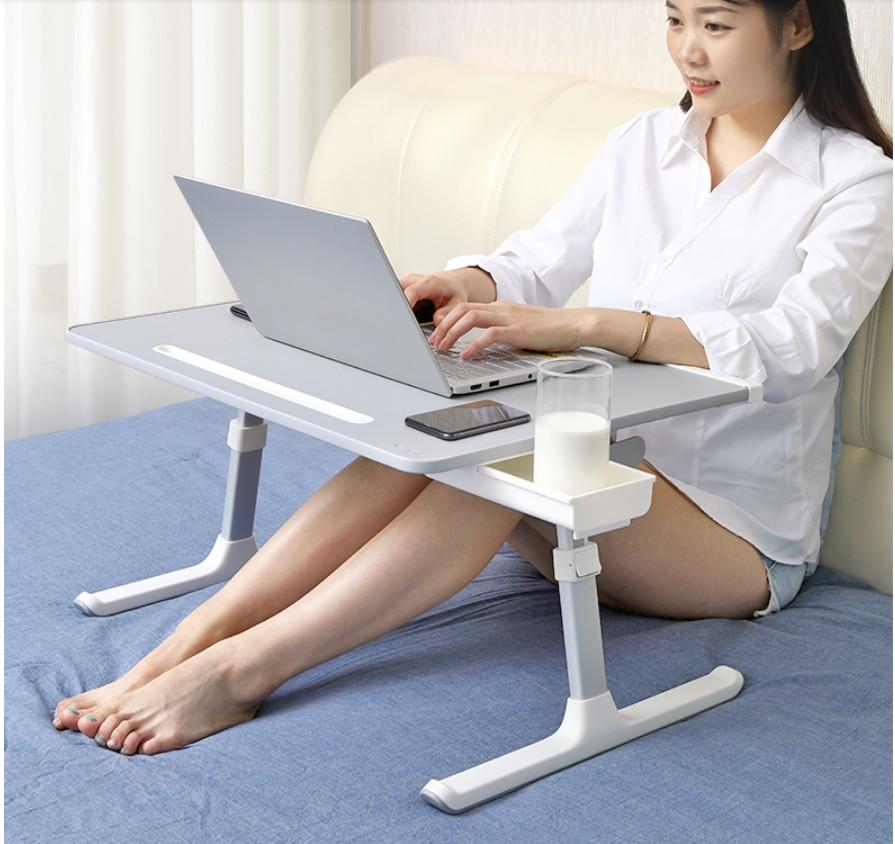 Bed Collapsible Lazy Desk Adjustable Lifting Computer Desk Dormitory Bed Desk Board Leather Desktop Anti-slip Firm Laptop Stand