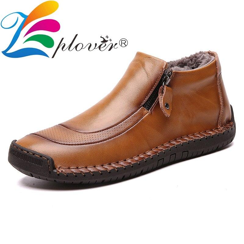New 2019 Handmade Winter Split Leather Shoes Men Boots Super Warm Plush Ankle Flats Mocassin Male Shoes Zapatos Hombre Big Size