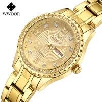 WWOOR Luxus Marke Diamant Uhr Für Frauen Mode Kleid Gold Uhr Frauen Elegante Quarz Datum Damen Armband Uhr Reloj Mujer