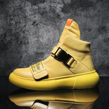 Nuevo estilo de la calle de Hip Hop para hombres zapatillas de deporte de cuero genuino zapatillas de correr para hombre al aire libre cómodo caminando zapatos deportivos hombres zapatos botas 1
