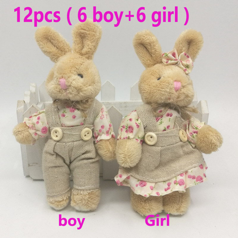 12pcs 6pair Small Fluffy Rabbit Plush Toys Mini Bunny Doll Wedding Bridal Gift Mini Animals Pendant Valentine's Day Keychain