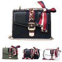 Flap Faux Leather Crossbody Bags For Women Fashion Color Block Ribbon Bow Chain Shoulder Messenger Bag Lady Travel Handbags