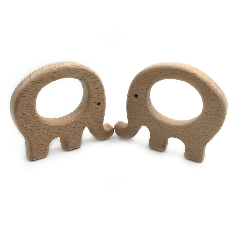 DIY Cartoon Fat Elephant Natural Beech Woode Teether Pacifier Chain 3C Safety Certification Woode Baby Teether Toys For Newborn