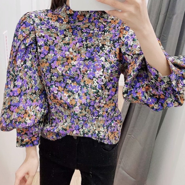 Nouveau 2020 femmes vintage col montant imprimé fleuri décontracté kimono blouse femmes plis lanterne manches chic chemise chemise hauts