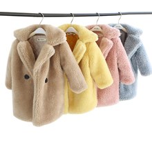 winter coat for girls Faux Fur Coat Baby elegant turndown collar Thicken Warm