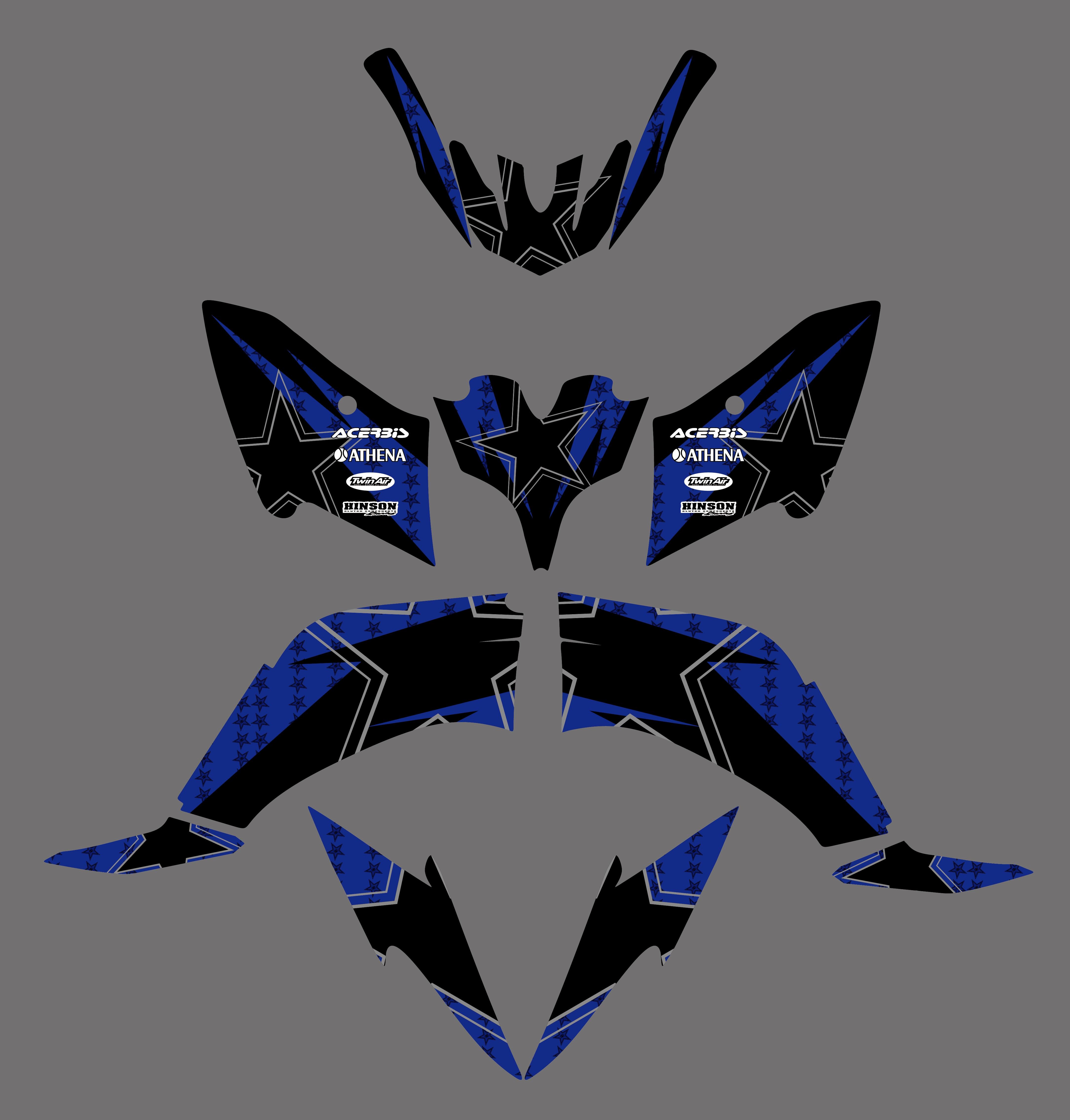 Autocollants étoiles Kits graphiques adaptés à Yamaha | Nouveau Style, Kits graphiques pour Yamaha Raptor125 Raptor 250 YFM125 YFM250 ATV YFM 125 250