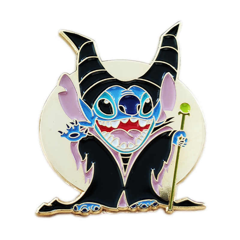 Dikiş cosplay Maleficent emaye pin broş