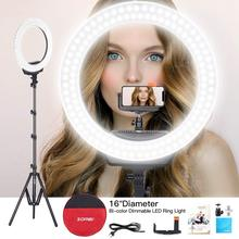 Ring Light 16 Led Bicolor Dimmable Photo Fill Continuous Illumination Tripod and Phone Holder Selfie Makeup