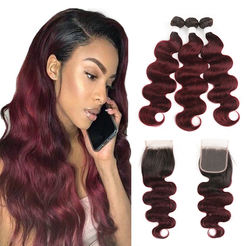 T1B/99J Ombre Body Wave Human Hair Bundles With Closure 4x4 SOKU 3 PCS Weave Bundles With Closure Non-Remy Hair Weave Extension
