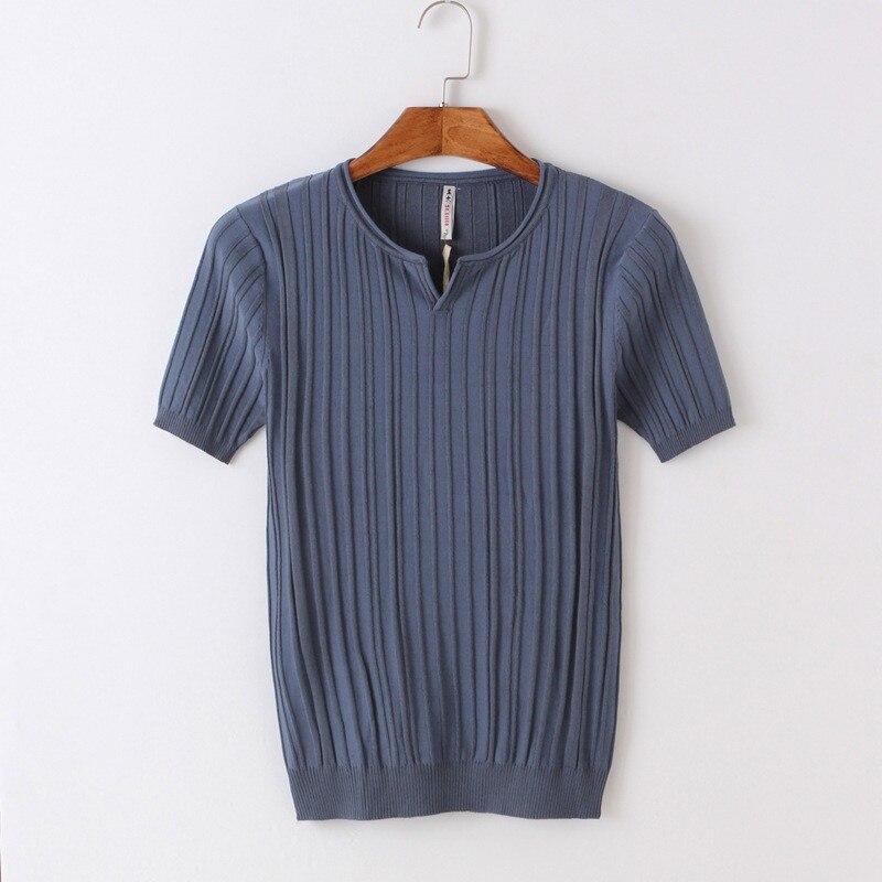 Été nouveau hommes à manches courtes t-shirt Hong Kong style tendance couleur unie col rond crochet chandail hommes