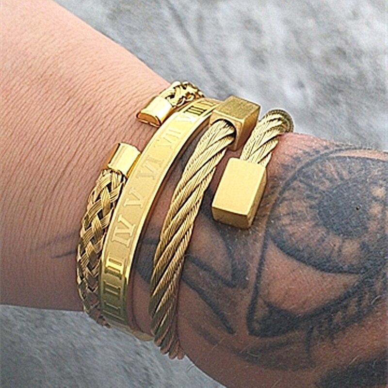 Luxury 3pcs/Set Stainless Steel Bracelet Hip Hop Men Jewelry Roman Number Charm Gold Color Jewelry For Men Pulseira Bileklik