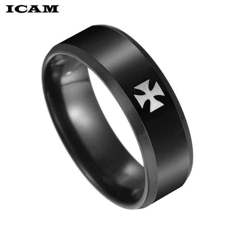 ICAM טיטניום פלדה מלחמת העולם השני ברזל גרמנית צלב צבא טבעת גברים אופנה בציר פאנק Biker טבעות בסדר תכשיטי מתנה