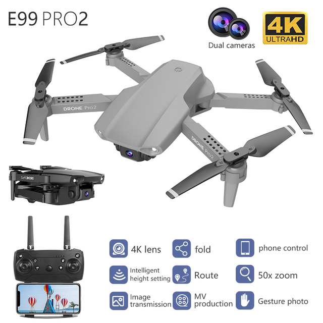E99 Pro2 Mini Drone Skimmer With 4K 1080P 720P Dual Camera WIFI FPV Aerial Photography Helicopter RC Foldable Quadcopter Kid Toy 1
