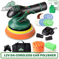 BATOCA Cordless Car Polisher 12V Wireless DA Car Polishing Machine Brushless Dual Action Buffer Free 2pcs 2.0Ah Lithium Battery