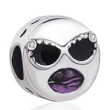 Original 925 Sterling Silver Charm Black Purple Enamel Lip & Sunglasses Stay Cool Beads Fit Pandora Bracelet & Necklace Jewelry(China)