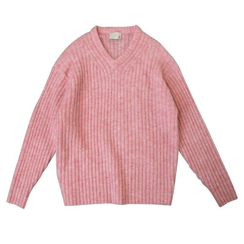 Женский свитер мохеровый с v образным вырезом свободный пуловер шерстяной свитер