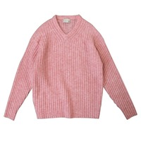 Women Sweater Mohair V neck Loose Pullover Wool Sweater