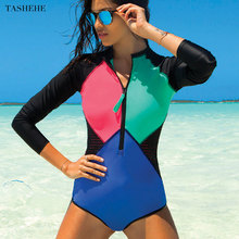 Сексуальный цельный купальный костюм с длинным рукавом, купальная одежда для женщин,, цветочный принт, для купания, сёрфинга, Ретро стиль, купальные костюмы, монокини, Maillot De Bain