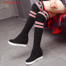 Stealth High heel Thigh high women boots over the knee boots Ladies Wedges sock boots Winter platform long boots shoes цена 2017