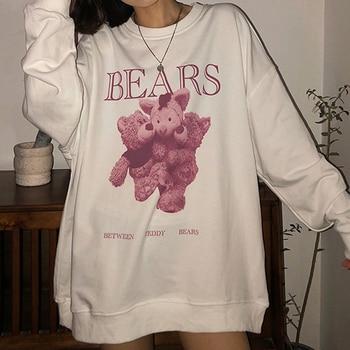 Women hoodie Big bear Pattern furry Hoodie Winter Warm Plush sweet Pullovers Woman Vintage korean Style loose Sweatshirt kawaii 1