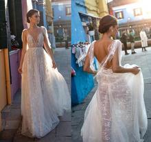 vestido novia Illusion Lace Bride Wedding Dress Sexy V Neck Backless Bridal Gowns Simple A Line Beach