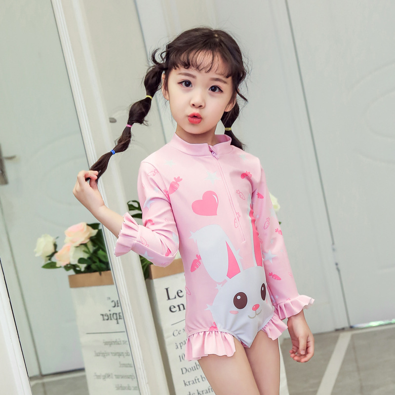CHILDREN'S Swimwear GIRL'S Girls One-piece Hooded Long Sleeve Cute Baby Meng Tu Tu Princess Quick-Dry Bathing Suit Sun-resistant