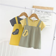 Little girl princess dress foreign style solid color cotton girl dress 2020 new summer children's dress spring and summer new style seaside holiday dress solid color split strap dress open back beach dress