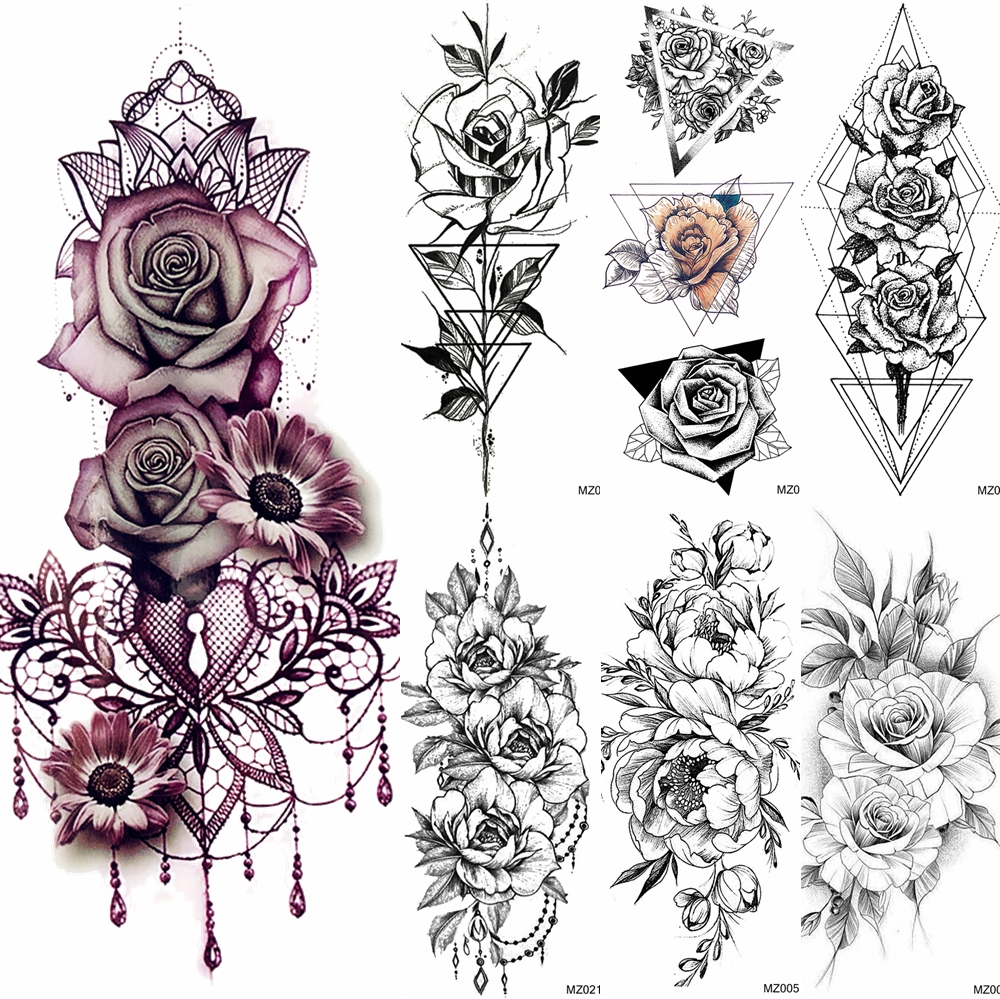 Big Rose Flower Temporary Tattoos Fake Jewelrys Design Pendant Henna Waterproof Fake Tattoo Decal Women Body Art Tatoos Arm 3D