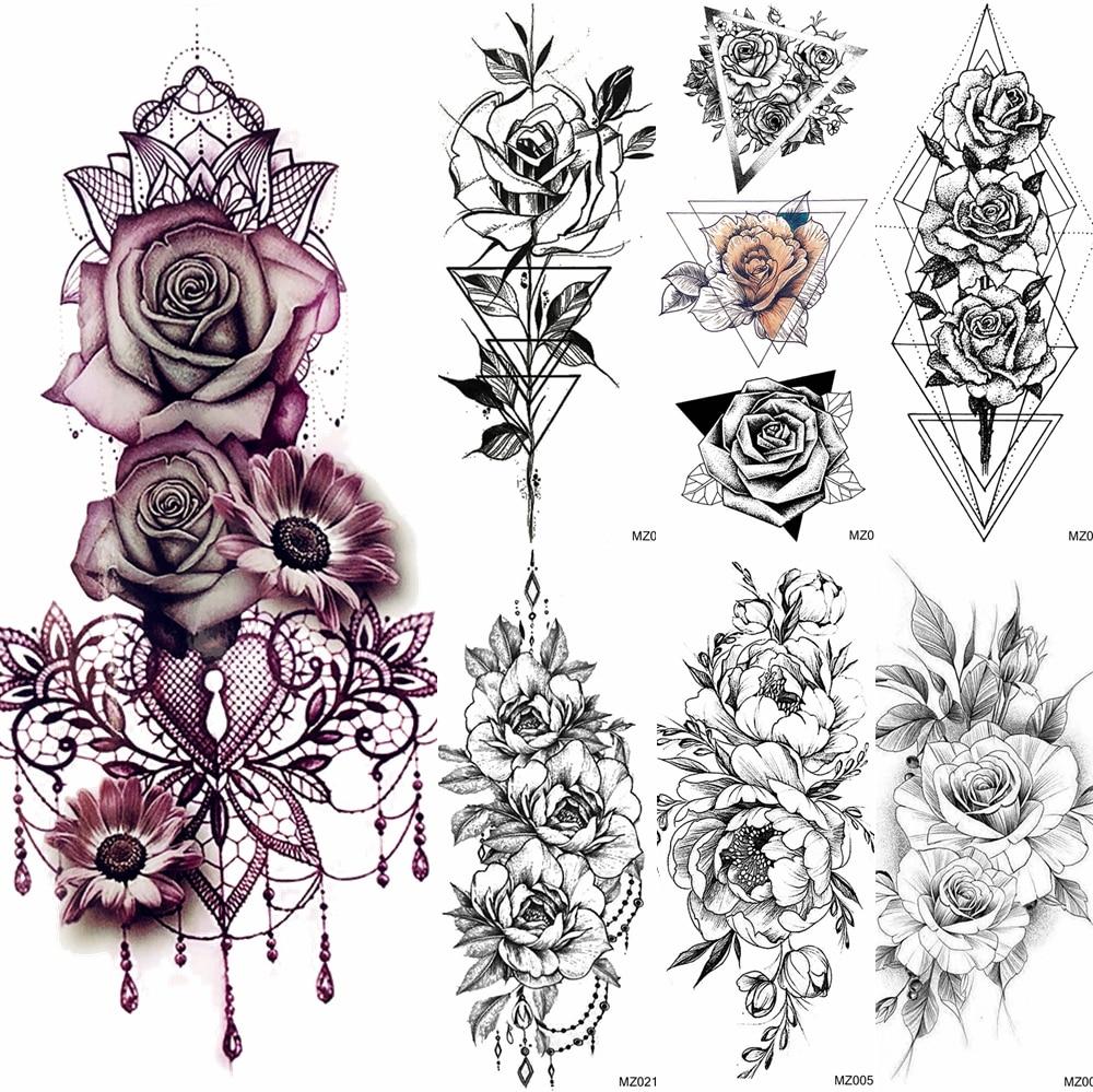 Big Rose Flower Temporary Tattoos Fake Jewelrys Design Pendant Henna Waterproof Fake Tattoo Decal Women Body Art Tatoos Arm 3D(China)