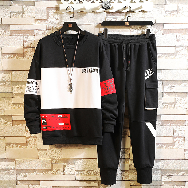Men's Tracksuit Spring/autumn Man Two-piece Set Sweat Suit Polyester Overalls Korean Leisure Suit Plus Size Hoodies/harlan Pants