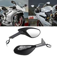 Moto Nero Specchi Set Con Indicatori di direzione Per Ducati 1299 Panigale S 2015 2016 959 Panigale S 2016