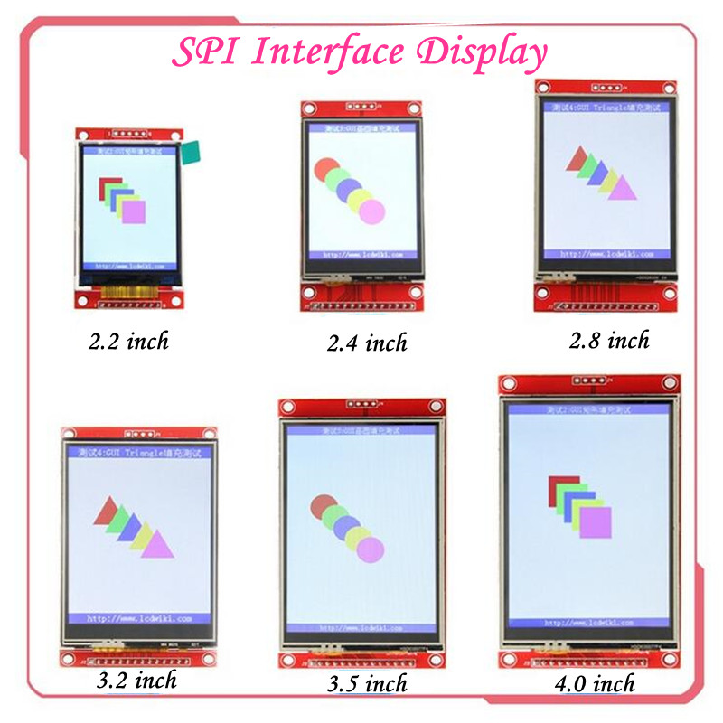 SPI Interface LCD Display 2.4/2.8/3.2/3.5/4.0 Inch TFT Color Screen Serial Port Module Drive IC ILI9341 With Resistive Touch Pen