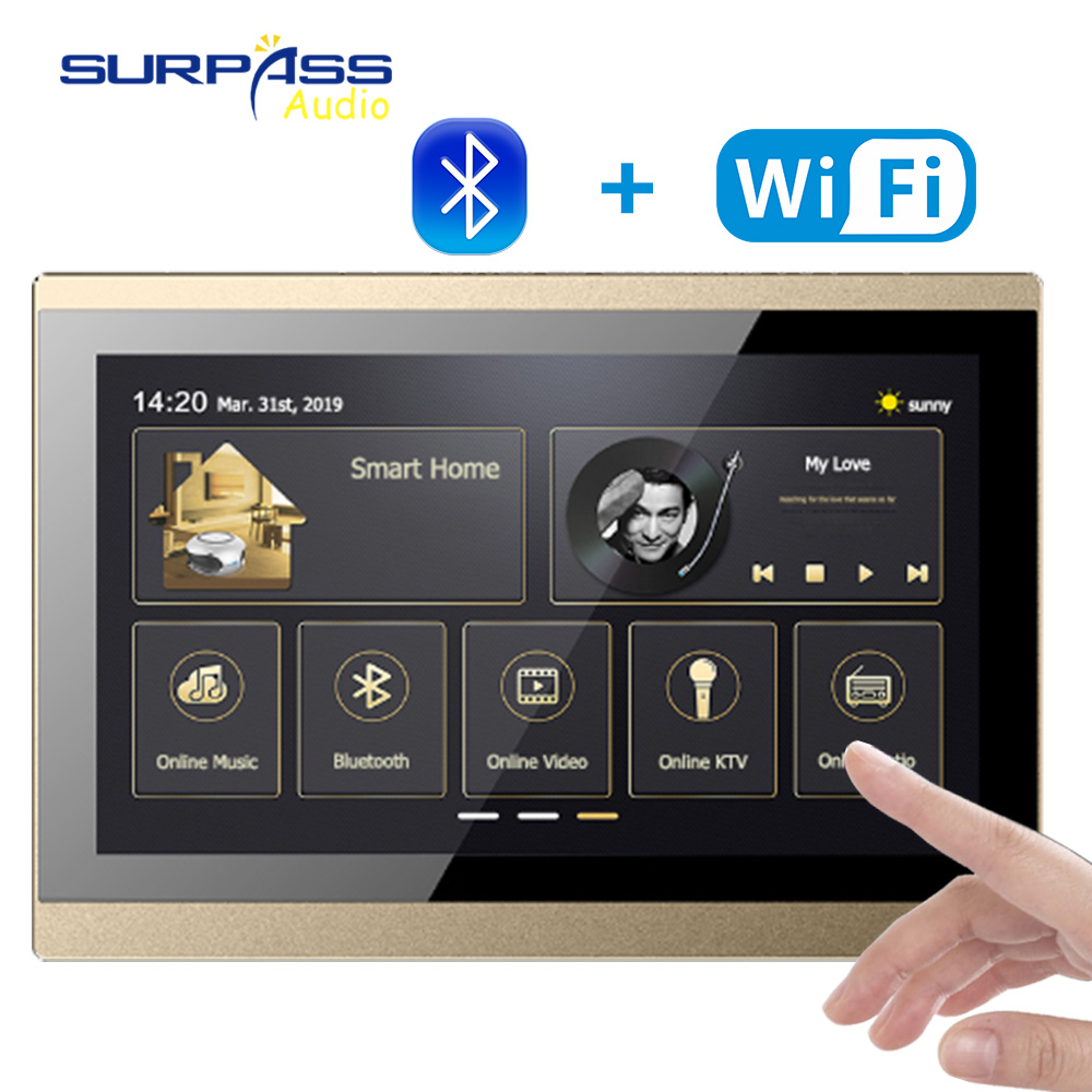 10inch Touch Screen WiFi Audio Wall Panel Amplifier Airplay Smart Home Theater Cinema Bluetooth Wireless Music System RS485 USB