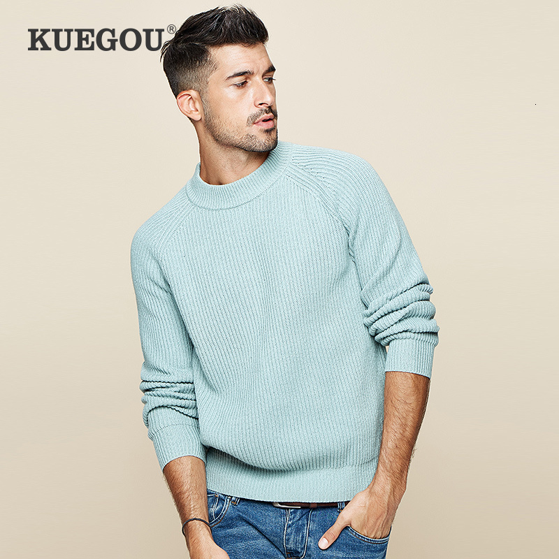 KUEGOU 2019 Autumn Cotton Green Striped Sweater Men Pullover Casual Jumper For Male Brand Knitted Korean Style Clothes 19018