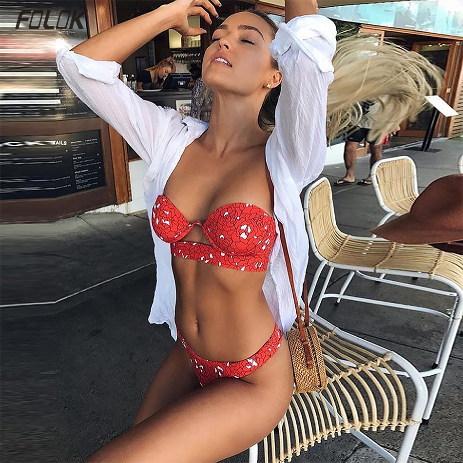 <font><b>2019</b></font> <font><b>Sexy</b></font> <font><b>Bikini</b></font> <font><b>Swimwear</b></font> <font><b>Women</b></font> <font><b>Swimsuit</b></font> <font><b>Push</b></font> <font><b>Up</b></font> Bandage <font><b>Bikini</b></font> Set Hollow Out Beachwear Biquini Bathing Suit Female image