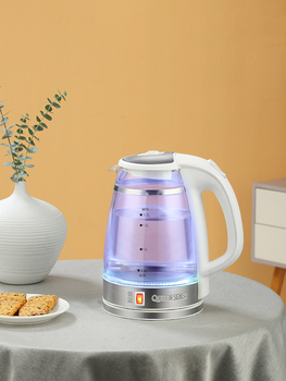 цена на Electric Water Kettle Glass Double Wall Cordless with Blue LED Light, 1.7L Tea Kettle, Fast Water Boiler, Automatic Shutof