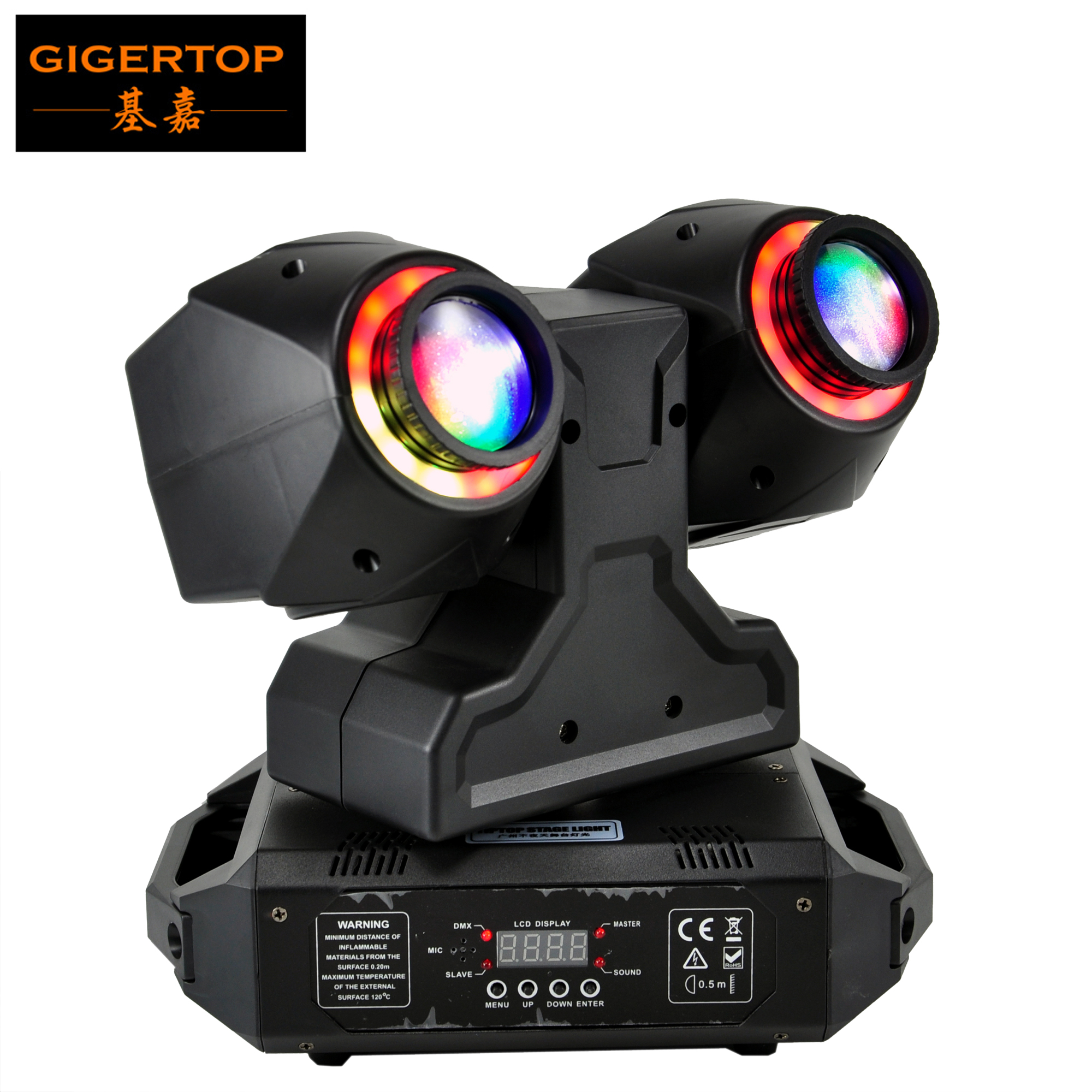 TIPTOP Stage Light 2 X 30W Led Beam Moving Head Light With RGB 3IN1 Color Halo Ring Effect DMX 3CH/21CH Sound/Auto Running
