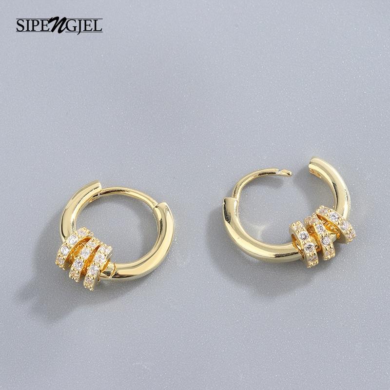 Fashion Micro Cz Small Round Circle Hoop Earrings Luxury Brand High Quality...