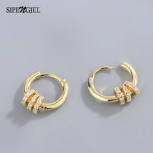 Moda micro cz pequeno círculo redondo hoop brincos marca de luxo alta qualidade bonito pequeno hoop brincos para mulher jóias