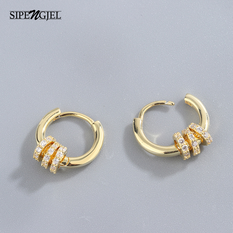 SIPENGJEL Fashion Small Round Circle Hoop Earrings Geometric Metal Clasp Unique Design Earrings For Women Gift 2021 Jewelry