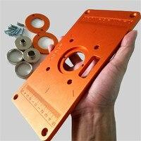 Universal liga de alumínio roteador de madeira mesa placa de inserção com roteador inserir anéis madeira ferramentas para trabalhar madeira|Conjuntos ferramenta manual| |  -