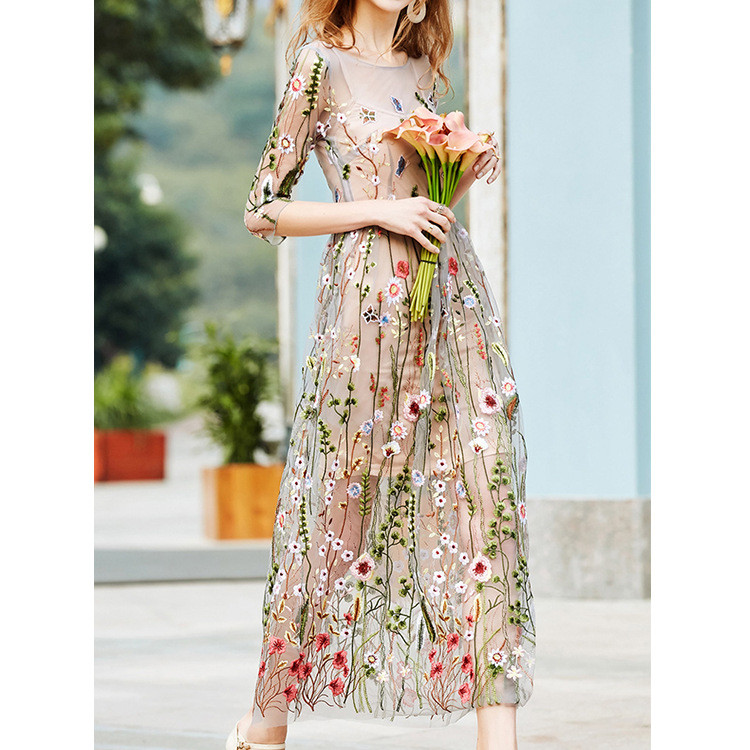 Embroidery Party Dresses Runway Floral Bohemian Flower Embroidered 2 Pieces Vintage Boho Mesh Dresses For Women Vestido 5